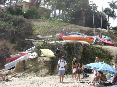 Kayaks at Fishermans Cove, Laguna Beach, California