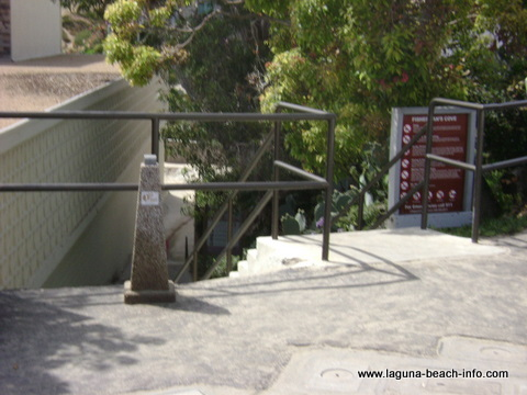 Stairs to Fishermans Cove in Laguna Beach, California