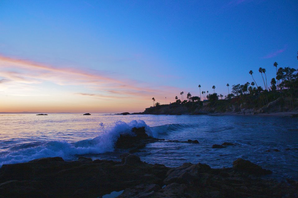 Main Beach at Sunset in Laguna Beach, Orange County, California