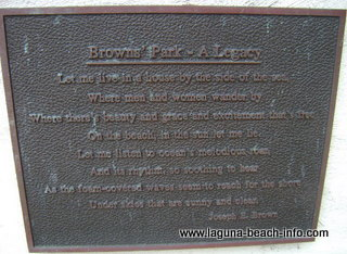 Brown's Park poem plaque, Laguna Beach Parks