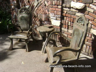 Brown's Park table chairs & book sculpture art, Laguna Beach Parks