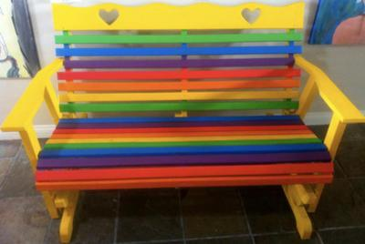 Painted bench, custom commission
