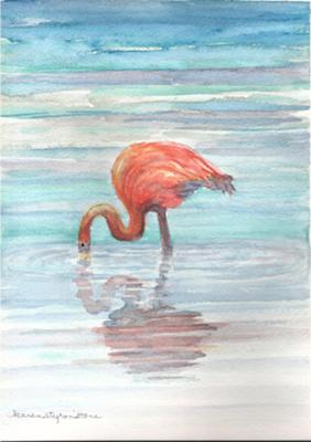 Flamingo<br>Watercolor Painting by Karen Styron Stone