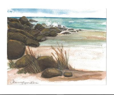 The Rocky Cove<br>Watercolor Painting by Karen Styron Stone