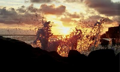 Crashing Surf in the Sunset, Laguna Beach, Orange County, California