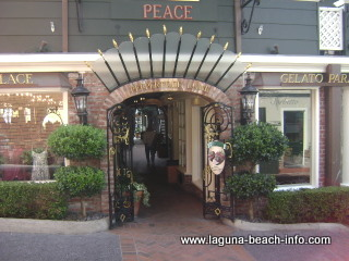 Peppertree Lane including Sutton Place, Gelato Paradiso, La Rue Du Chocolat, as well as Watermarc Restaurant and the Saloon Bar, Laguna Beach Shops, Laguna Beach, California
