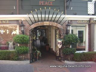 Peppertree Lane including Sutton Place, Gelato Paradiso, La Rue Du Chocolat, as well as Watermarc Restaurant and the Saloon Bar, Laguna Beach Shops, Laguna Beach, California