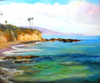 Divers Cove, Laguna Beach, California painted by artist Renuka Pillai