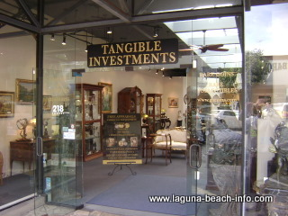 Tangible Investments Store, specializing in  coins, paintings, antique furniture, and jewelry, Laguna Beach Shops, Laguna Beach, California